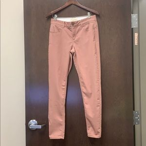 Rose colored spandex blend jeans